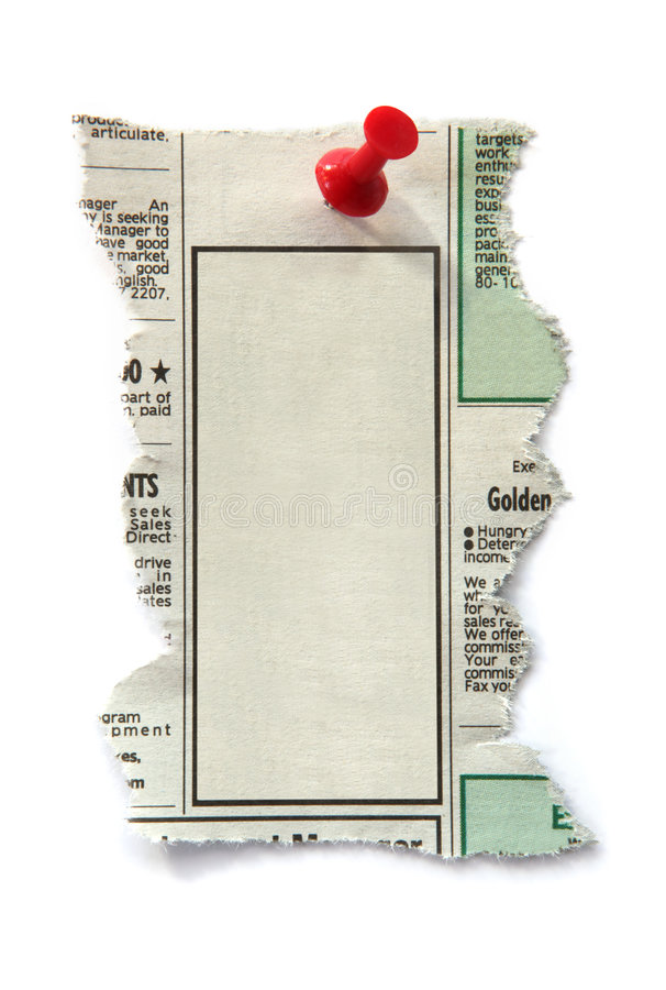 Classified Ad. Blank newspaper classified ad, ready for your message. Fastened with red push pin