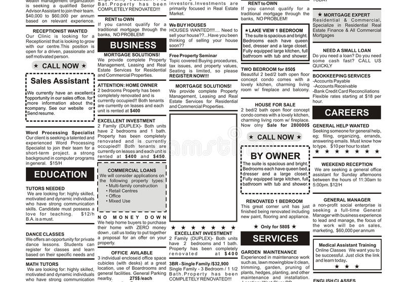 Classified Ad. Fake Classified Ad, newspaper, business concept stock illustration