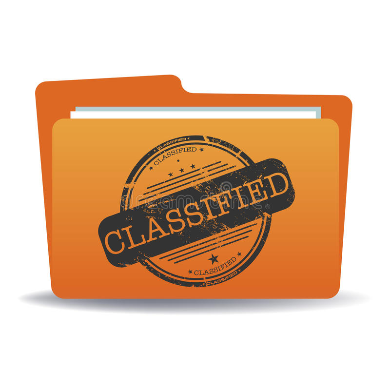 Classified file. Orange file with a black stamp with the word classified written in the middle of the folder stock illustration