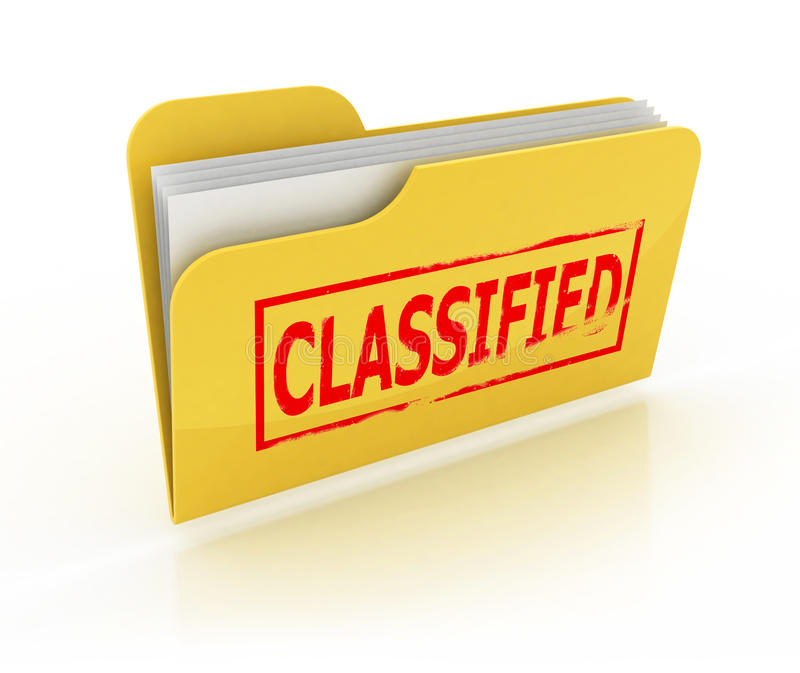 Classified folder icon. Over the white vector illustration