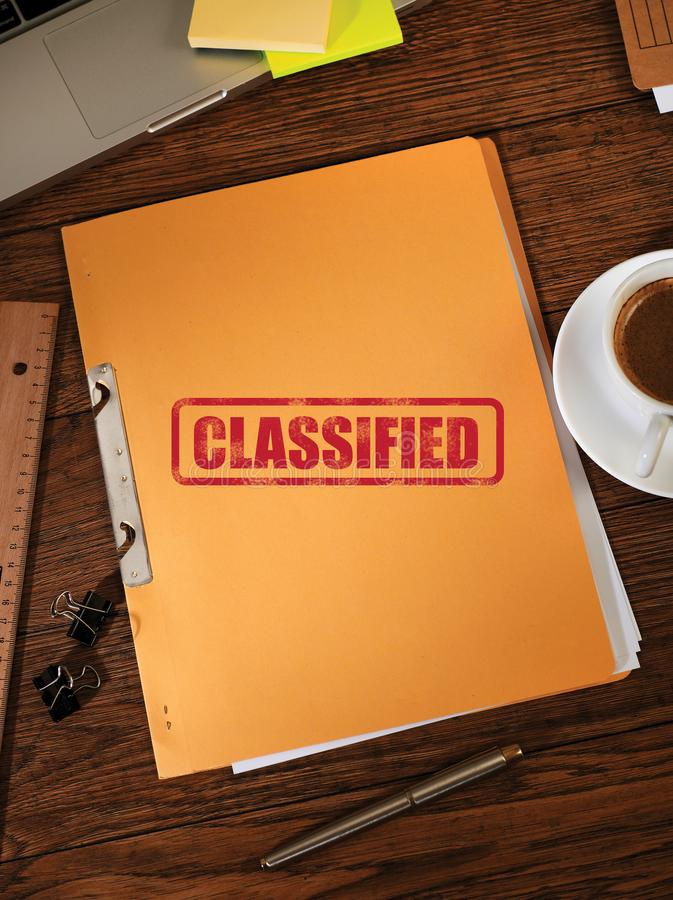 Classified folders from above. Classified manila folders from above royalty free stock photo