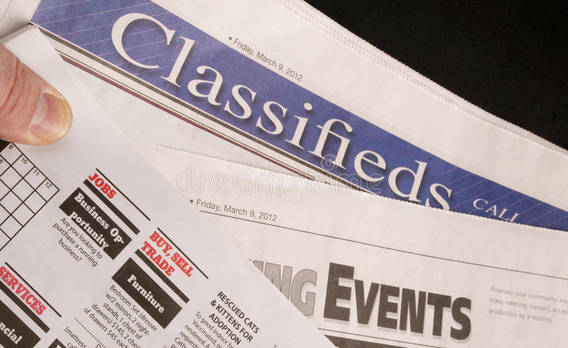 Classified Help Wanted Job Offered Ads in Traditional Print News royalty free stock images