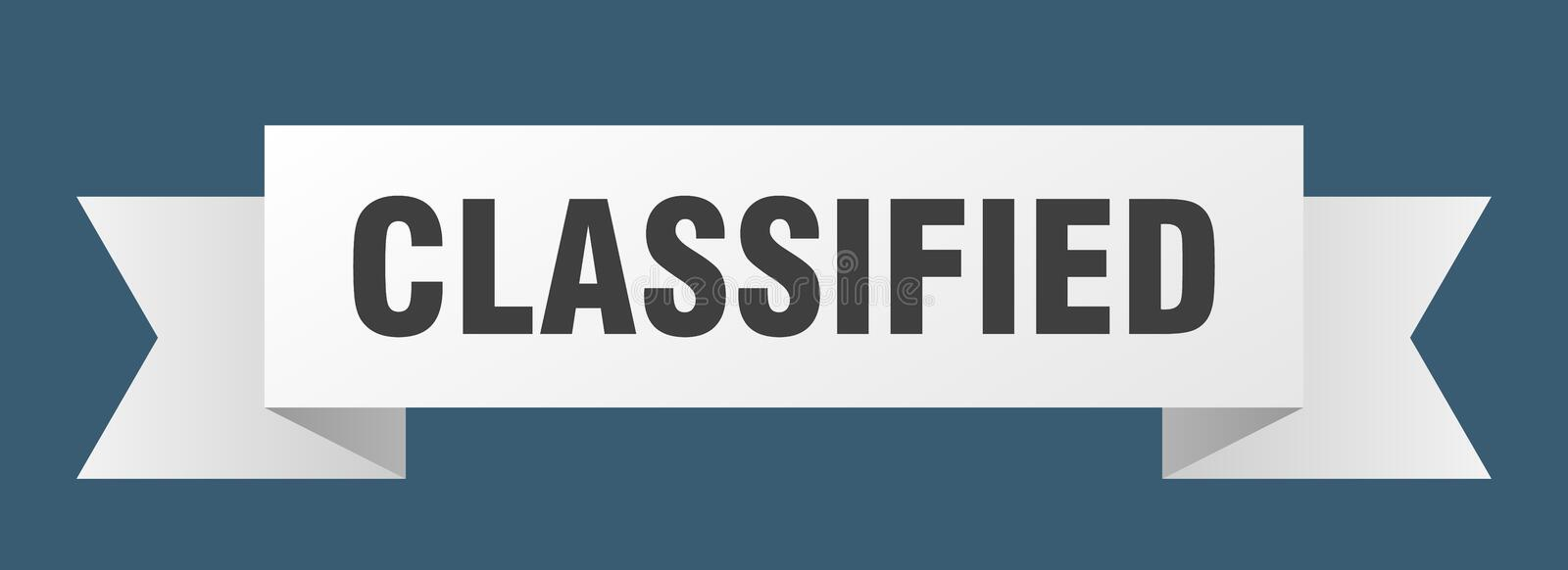 Classified ribbon. Classified banner. sign. classified stock illustration