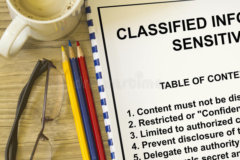 Classified sensitive information stock photo