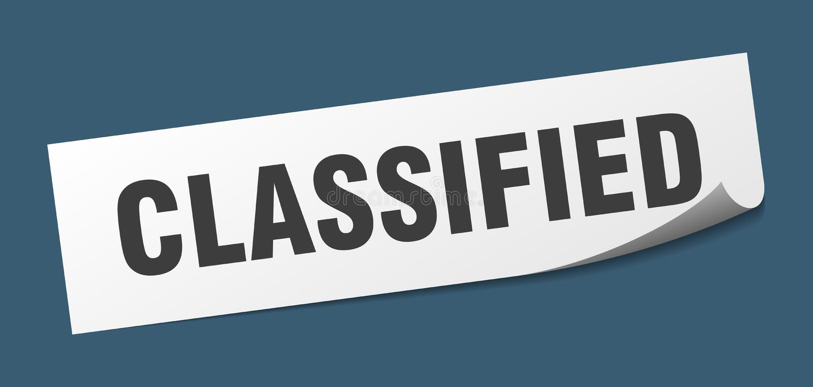 Classified sticker. Classified square sign. classified stock illustration