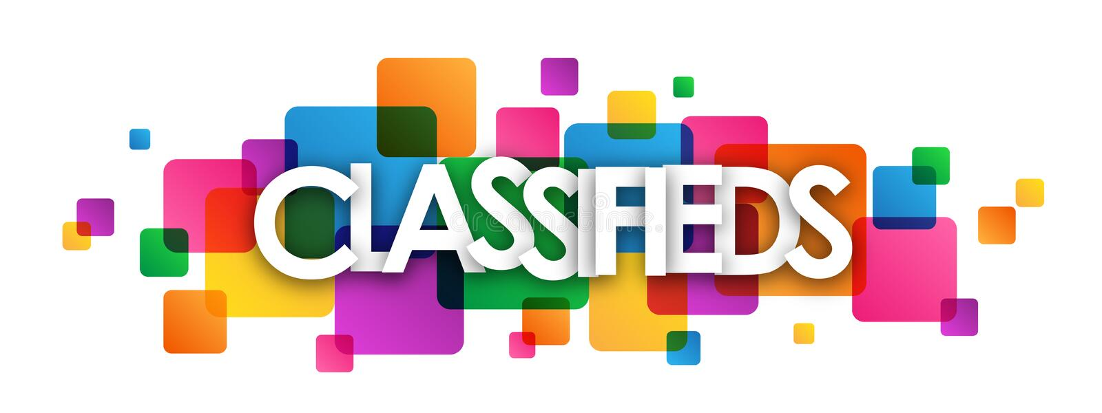 CLASSIFIEDS colorful overlapping squares banner royalty free illustration