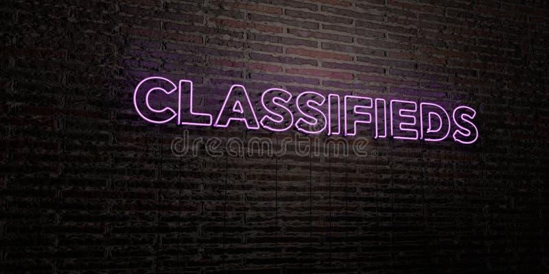 CLASSIFIEDS - enseigne au néon réaliste sur le fond de mur de briques - image courante gratuite de redevance rendue par 3D illustration stock