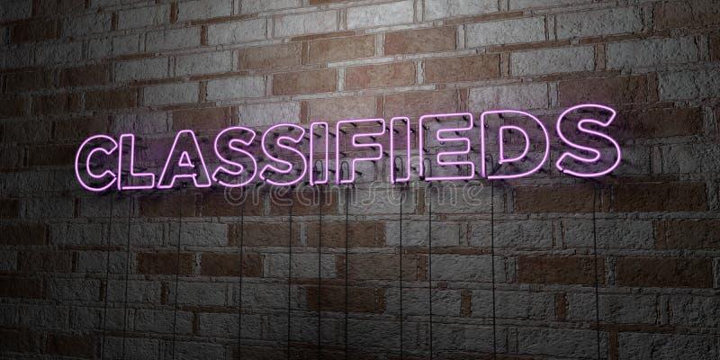 CLASSIFIEDS - Enseigne au néon rougeoyant sur le mur de maçonnerie - illustration courante gratuite de redevance rendue par 3D illustration de vecteur