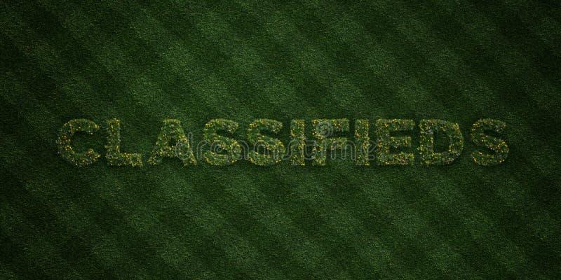 CLASSIFIEDS - lettres fraîches d'herbe avec des fleurs et des pissenlits - redevance rendue par 3D libèrent l'image courante illustration stock