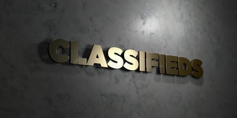 Classifieds - texte d'or sur le fond noir - photo courante gratuite de redevance rendue par 3D illustration de vecteur
