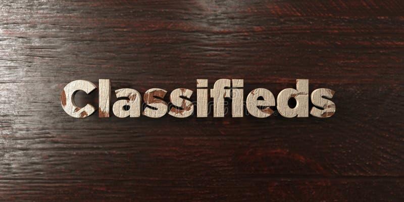 Classifieds - titre en bois sale sur l'érable - image courante gratuite de redevance rendue par 3D illustration libre de droits