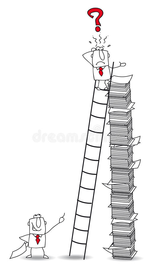 Classify documents. Joe the businessman climbs a ladder. He has lost an important document royalty free illustration