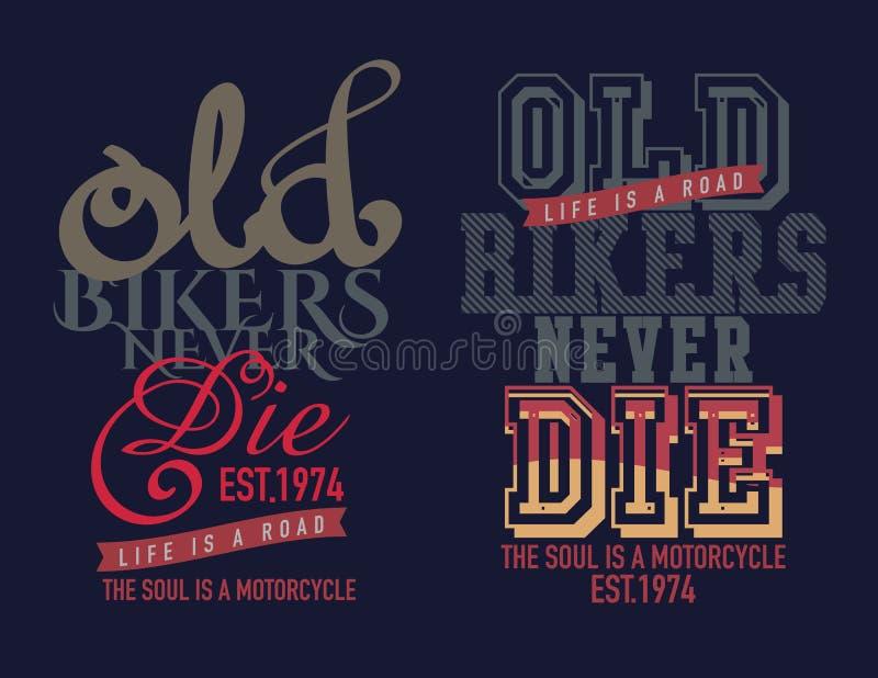 classique de motocycle de conception de typographie illustration libre de droits