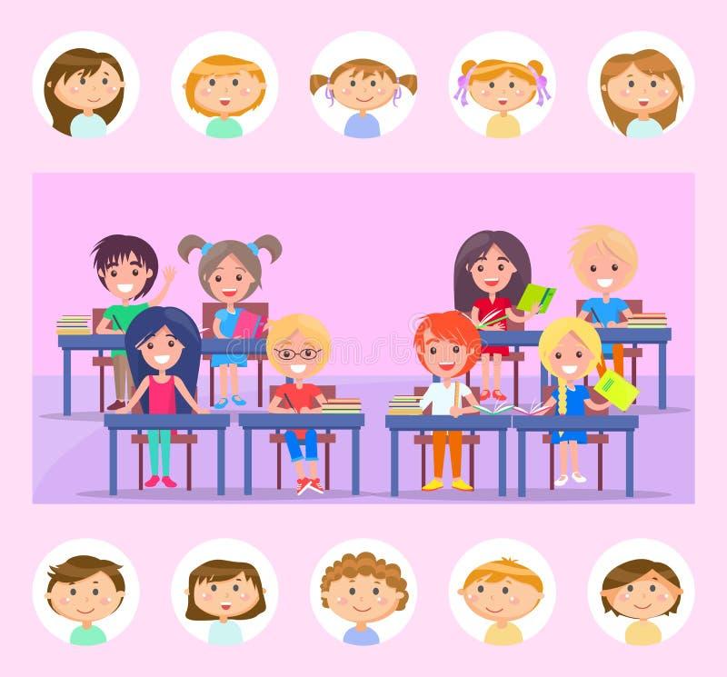 Classmate y aula, alumno con vector de libros libre illustration