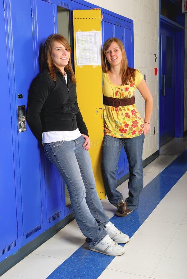 Classmates in School Hallway stock photo