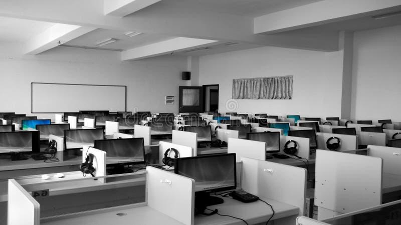Classroom with audio equipment stock photo