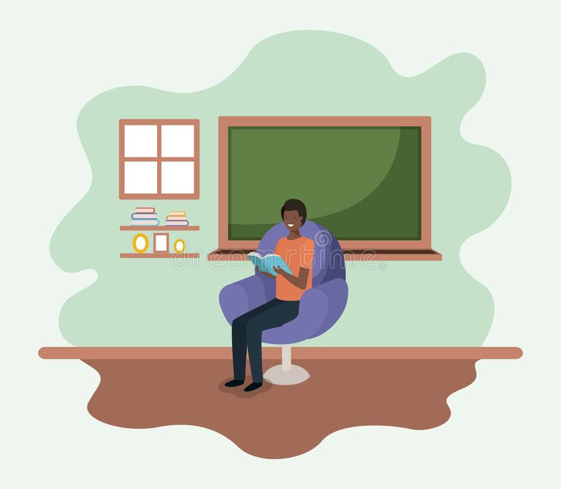 Classroom with black teacher reading book in the sofa stock illustration