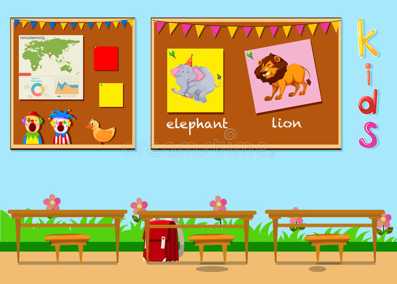 Classroom with boards and chairs. Illustration royalty free illustration