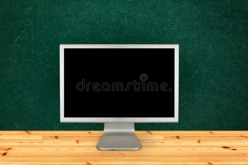Classroom computer monitor stock image