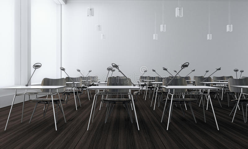 Classroom concept with wood floor (3d Render) stock illustration