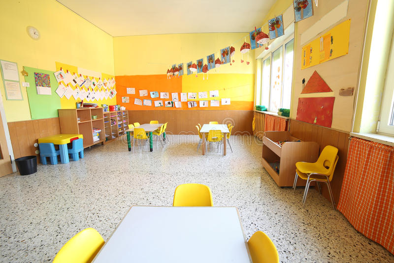 Classroom of a daycare center royalty free stock photo