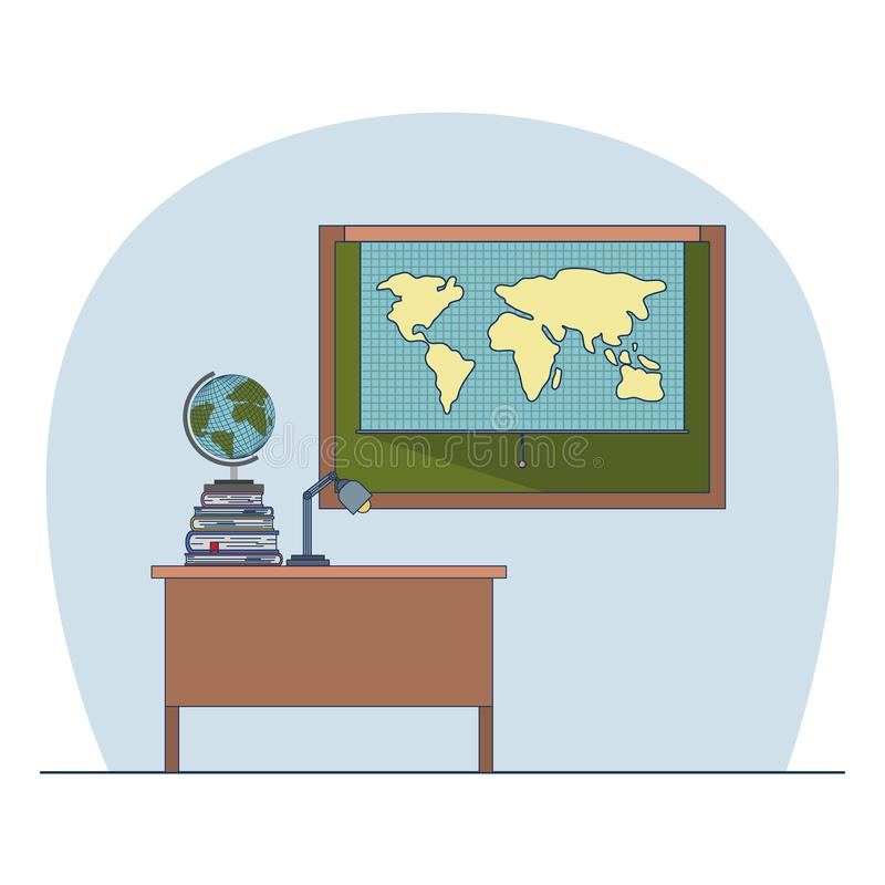 Classroom with desk with books and chalkboard with world map royalty free illustration