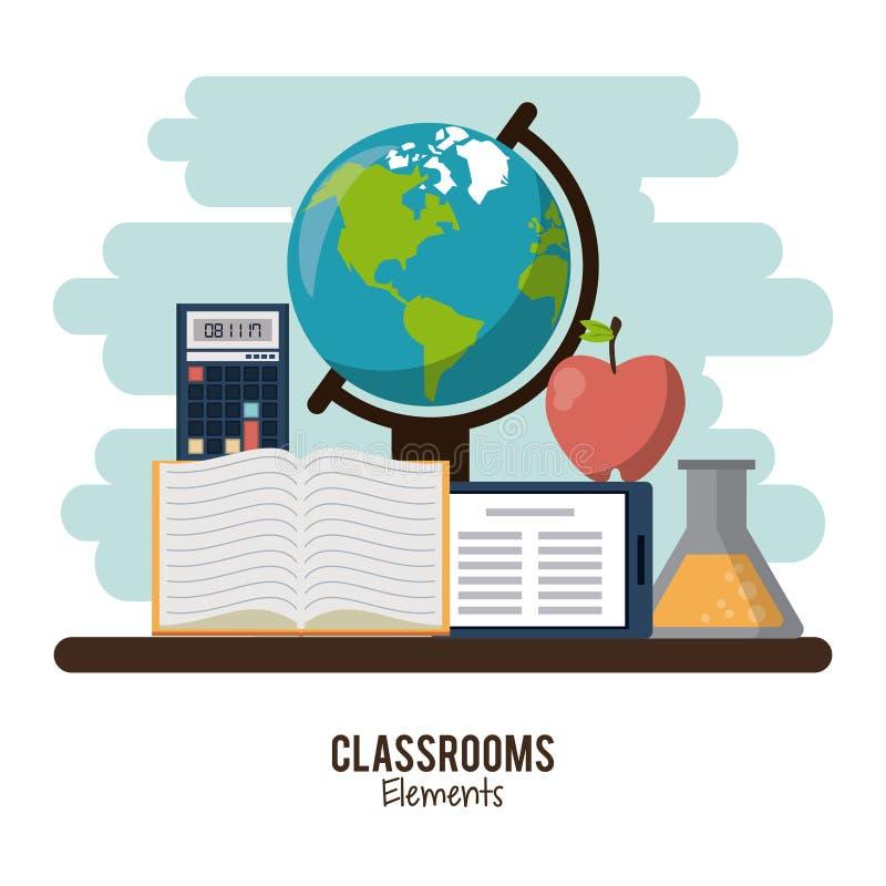 Classroom elements design royalty free illustration