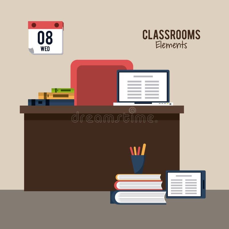 Classroom elements design stock illustration