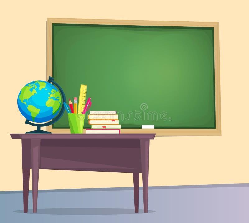 Classroom with green chalkboard. Teachers desk. Vector illustration flat style vector illustration