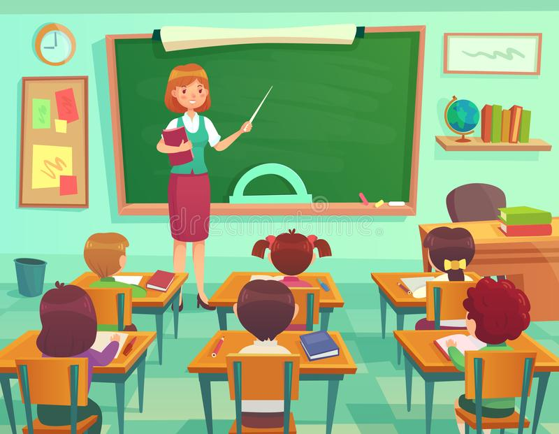 Classroom with kids. Teacher or professor teaches students in elementary school class. Student learn on lessons vector vector illustration
