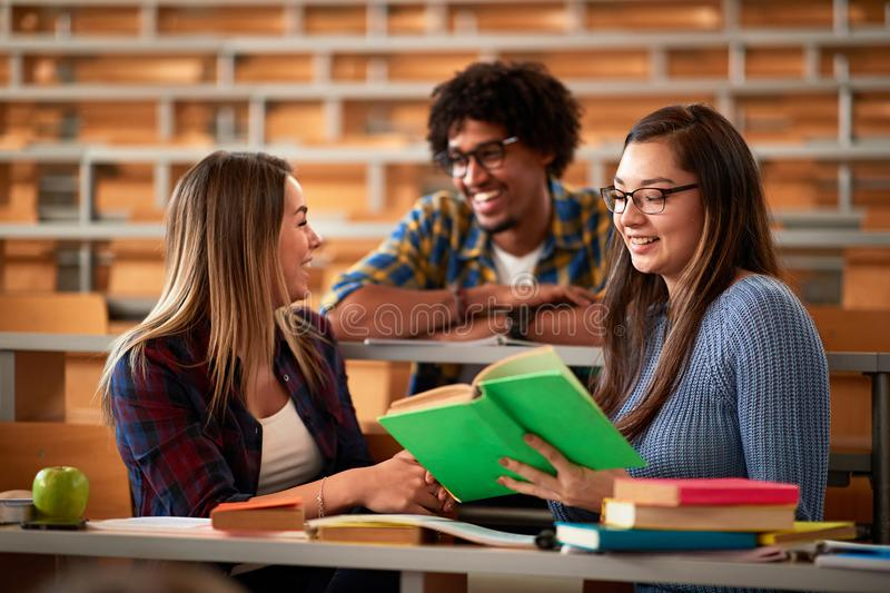 In the Classroom Multi Ethnic Students Listening to a Lecturer. Young People Study at the College. In the Classroom Multi Ethnic Students Listening to a Lecturer royalty free stock images