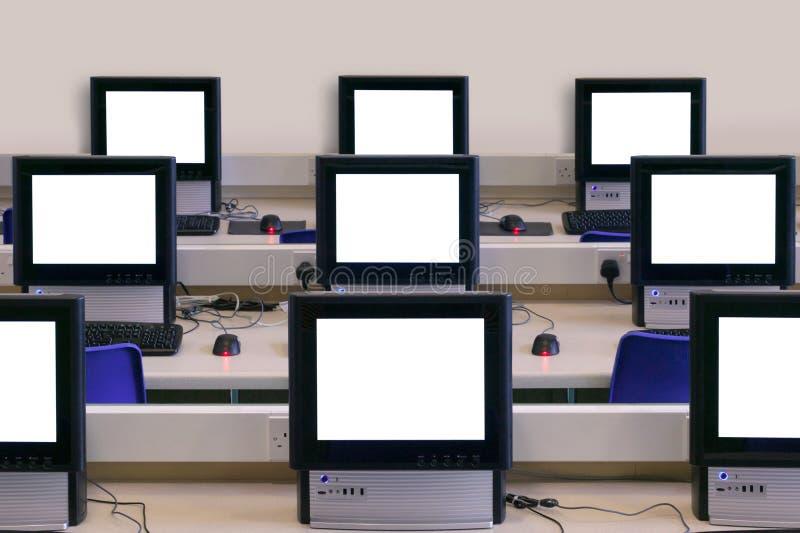 IT classroom multiple computer screens