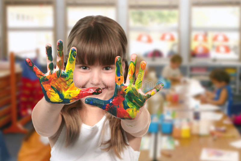 Classroom Painting in Kindergarten royalty free stock photo