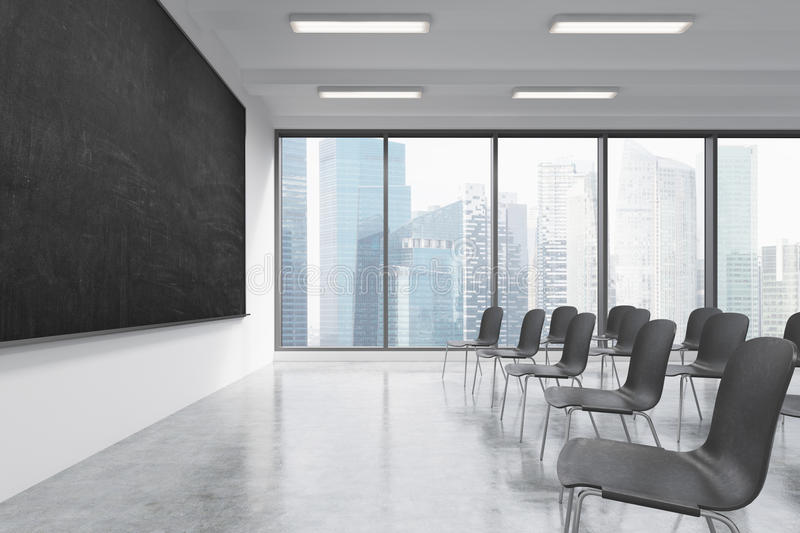 Download A Classroom Or Presentation Room In A Modern University Or Fancy  Office. Black Chairs