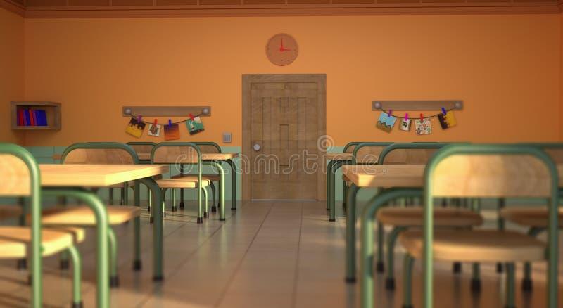 Classroom in School Cartoon Style. 3D renderingnhigh resolution 3D renders of him vector illustration