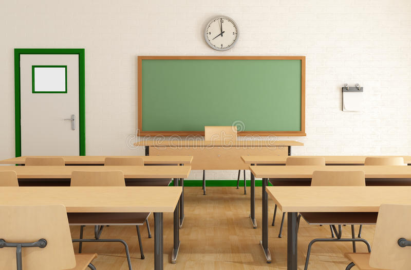 Classroom without students. With wooden furniture and green blackboard on brick-wall-rendering