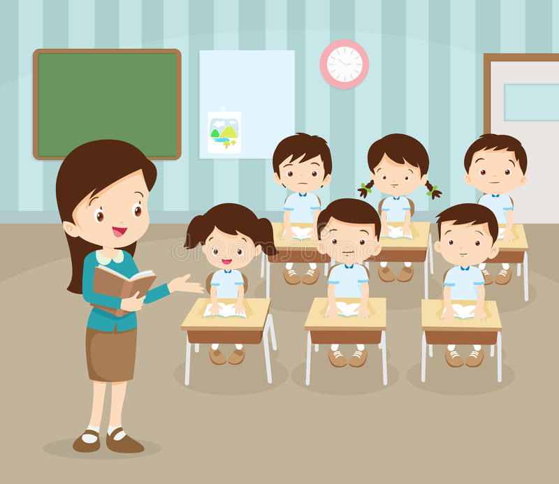 Classroom with teacher and pupils stock illustration