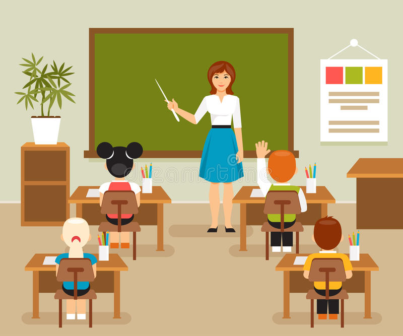 Classroom With Teacher And Students Stock Vector ...
