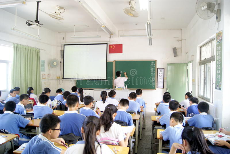 Classroom teaching of the painting. May 10, 2012, China's shenzhen pleasurable xixiang primary school, in the classroom teaching of painting. Students are stock images