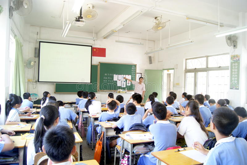 Classroom teaching of the painting. May 10, 2012, China's shenzhen pleasurable xixiang primary school, in the classroom teaching of painting. Students are royalty free stock images