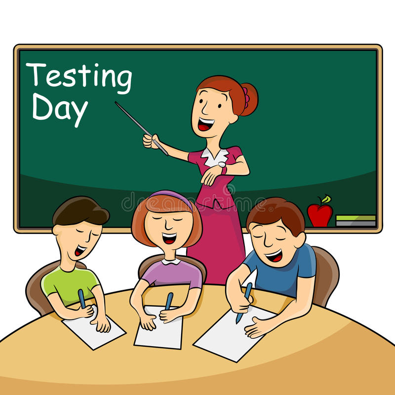 Classroom Testing Day. An image of students taking a timed test in the classroom