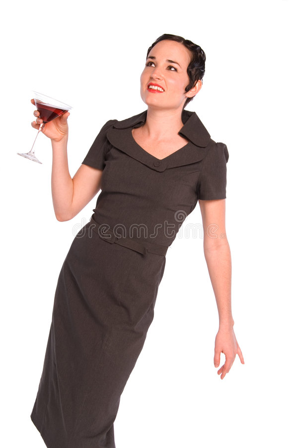 Classy 1920s style woman. Classy 1920s woman with finger curl hair style, holding a red cocktail. Isolated on white stock photo