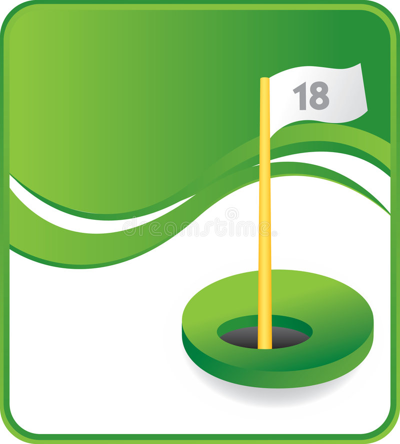 Classy Eighteenth hole. Eighteenth hole with flag on green wave background stock illustration