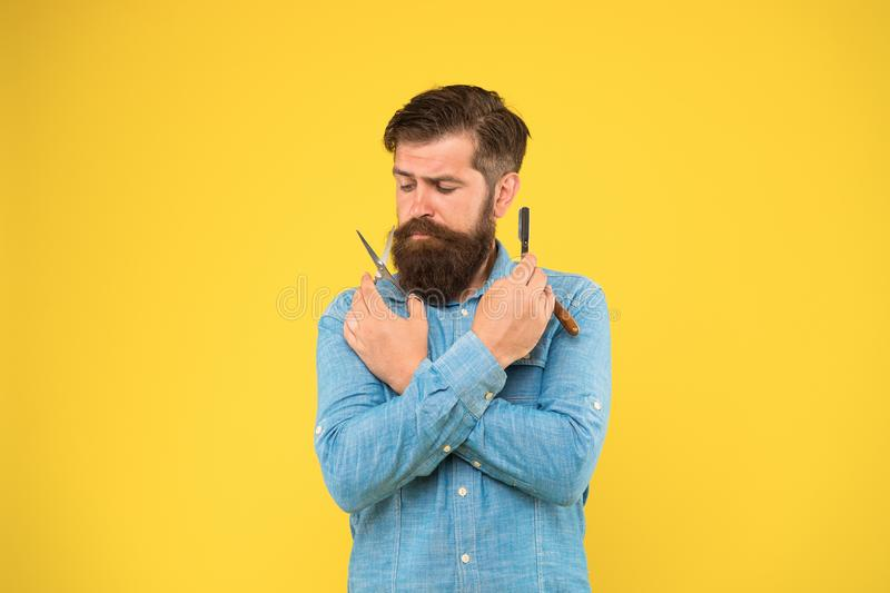 Classy and fabulous. Retro barbershop. Hipster with tools. Designing haircut. Fresh hairstyle. Barbershop concept royalty free stock photos