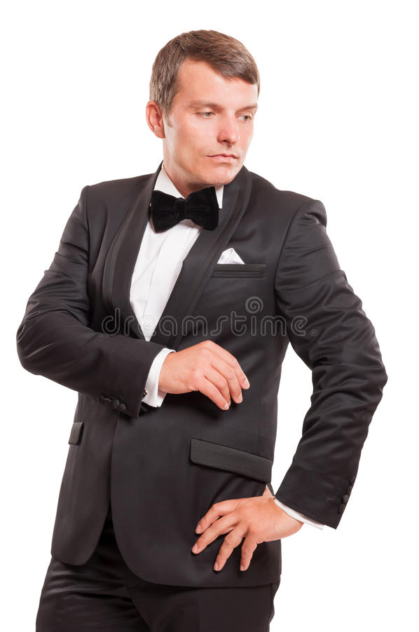 Classy gentleman isolated on white background royalty free stock photography