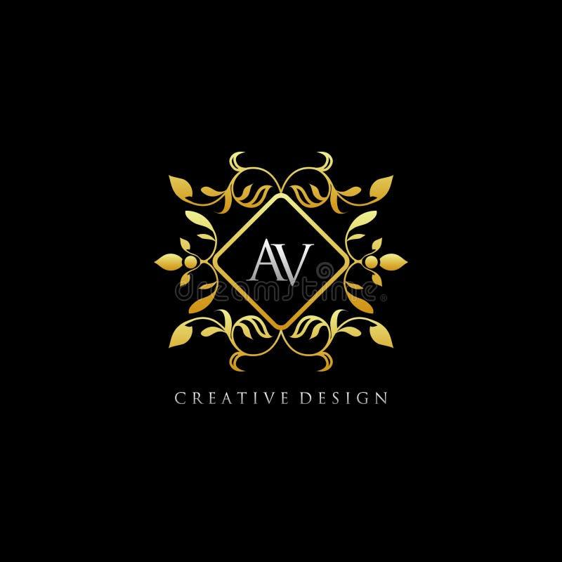 Classy Gold Royal AV Letter Logo stock illustration