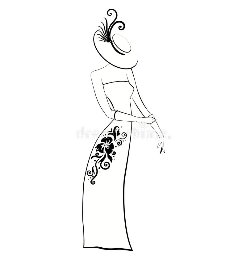 Download Classy Lady In Gloves And Hat Black And White Stock Vector - Illustration of gown, detail: 23852719