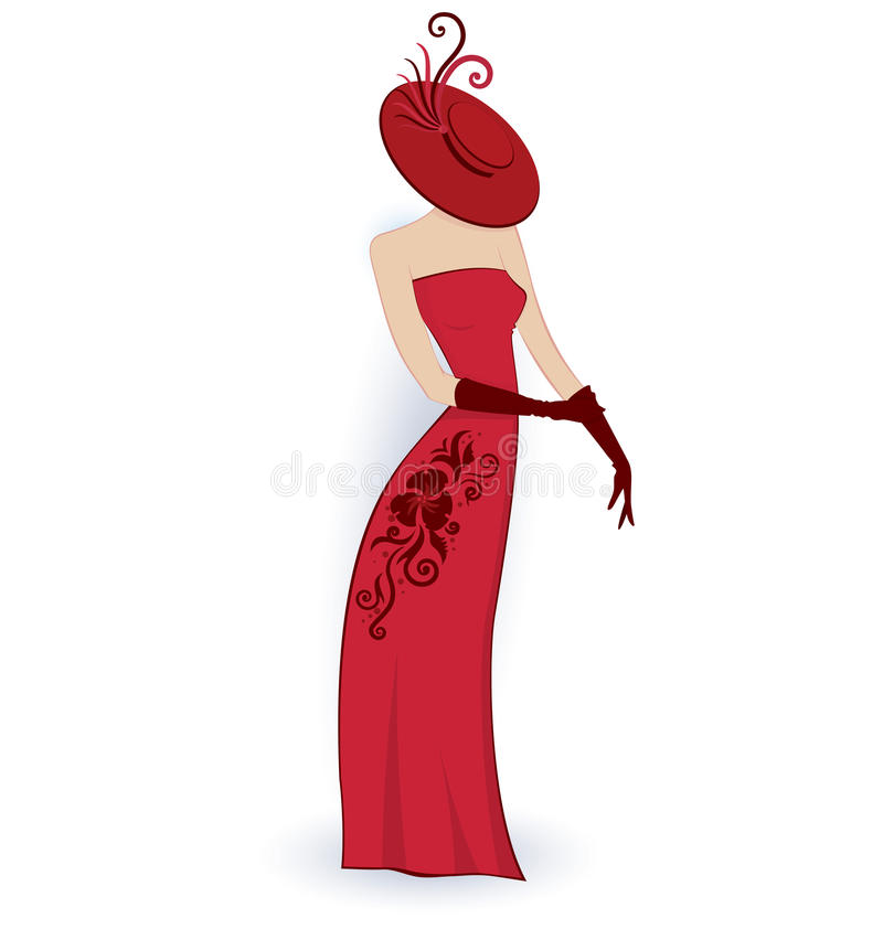 Download Classy lady in red dress stock vector. Image of retro - 23824106