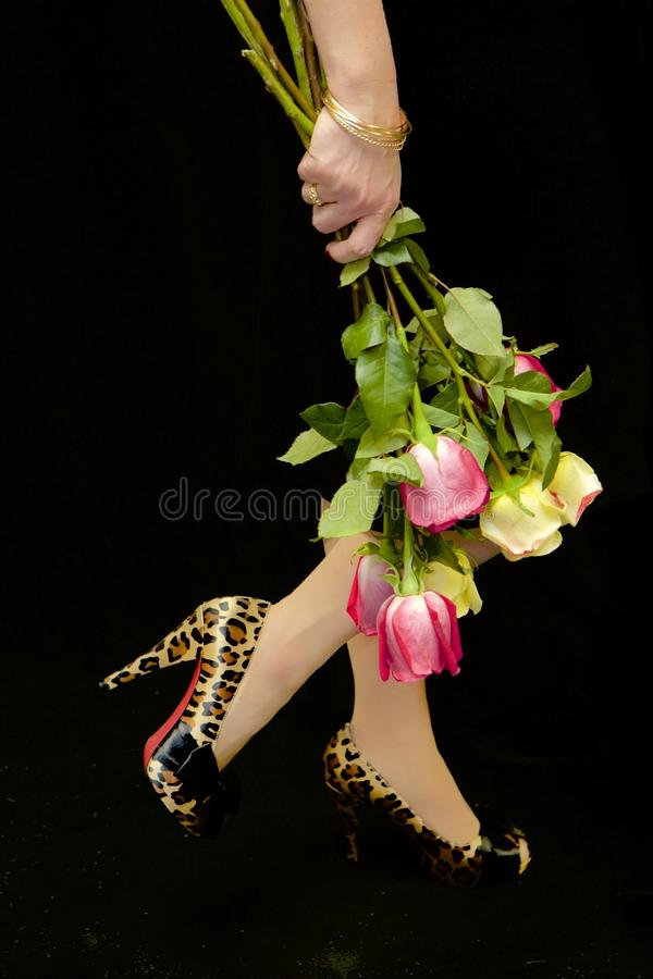 Classy. Profile of an elegantly bangled, feminine wrist holding a half dozen pink and yellow roses against her bent knee. Nylons and leopard high heels. Black royalty free stock photography