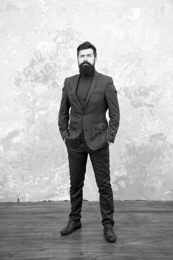 Classy style. Man bearded hipster wear classic suit outfit. Formal outfit. Take good care of suit. Elegancy and male stock photo
